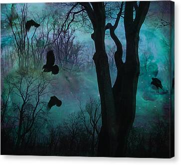 Blue Forest Blackbirds Dance Canvas Print