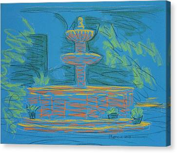 Blue Fountain Canvas Print by Marcia Meade