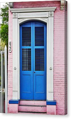 Entrance Door Canvas Print - Blue Front Door New Orleans by Christine Till
