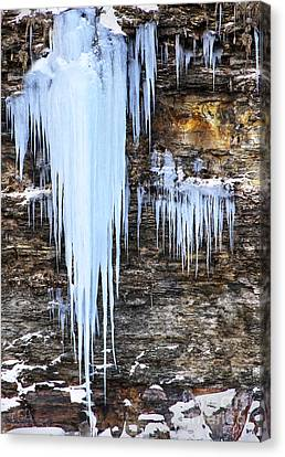 Blue Frozen Icicle Stalactites Canvas Print by Darleen Stry