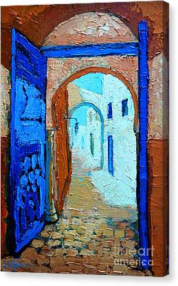 Canvas Print featuring the painting Blue Gate by Ana Maria Edulescu