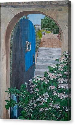 Blue Gate On Eastern Point Canvas Print by Laurence Dahlmer