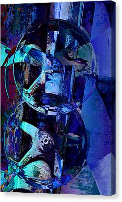 Blue Gears Collage Canvas Print by Ann Powell