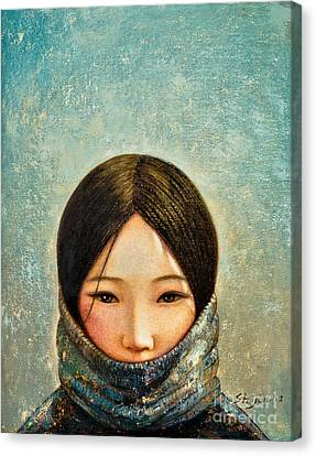 Blue Girl Canvas Print by Shijun Munns