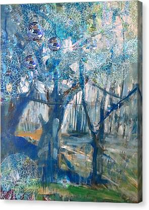 Blue Glass Bead Tree Canvas Print by John Fish