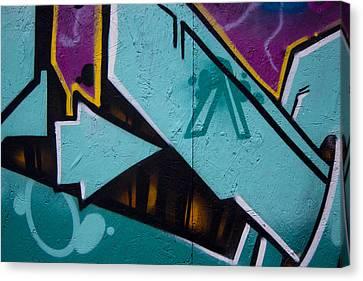 Blue Graffiti Arrow Canvas Print by Carol Leigh