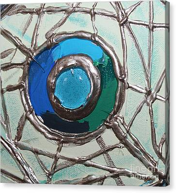 Blue Green And Gold Circle Canvas Print by Cynthia Snyder