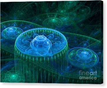 Blue Green Fantasy Landscape Canvas Print by Martin Capek