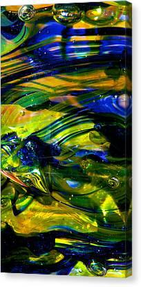 Blue Green Glass Macro Canvas Print by David Patterson
