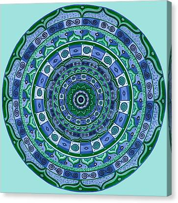 Blue Green Mandala Canvas Print by Vlatka Kelc
