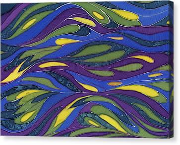 Blue Green Yellow  Abstract Silk Design Canvas Print by Sharon Freeman