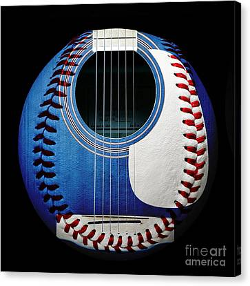 Blue Guitar Baseball Square Canvas Print by Andee Design