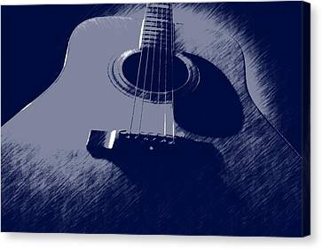 Canvas Print featuring the photograph Blue Guitar by Photographic Arts And Design Studio