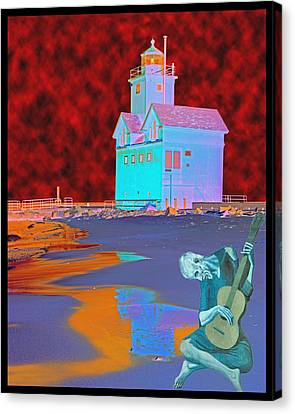 Blue Guitarist At Big Blue Canvas Print