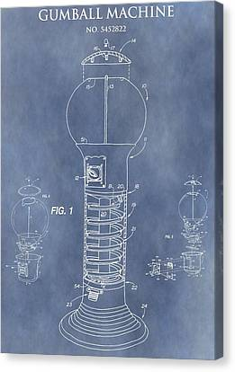 Spin Canvas Print - Blue Gumball Machine Patent by Dan Sproul