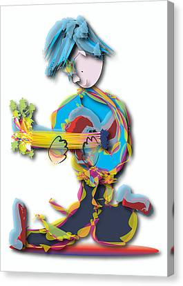 Canvas Print featuring the digital art Blue Hair Guitar Player by Marvin Blaine