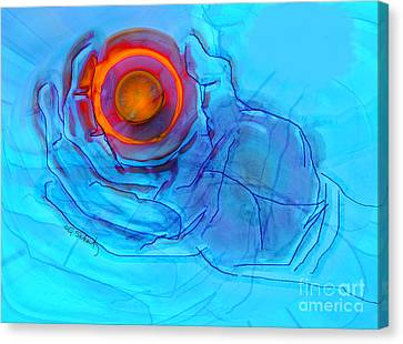 Canvas Print featuring the digital art Blue Hand by Gabrielle Schertz