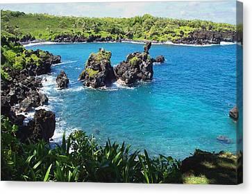 Canvas Print featuring the photograph Blue Hawaiian Lagoon Near Blacksand Beach On Maui by Amy McDaniel