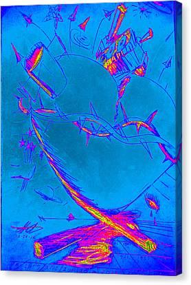 Blue Heart Canvas Print by David De Los Angeles