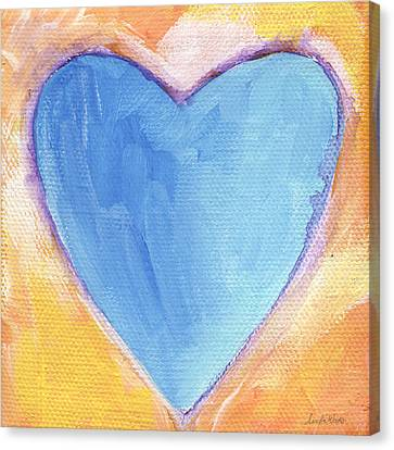 Abstract Expressionist Canvas Print - Blue Heart by Linda Woods