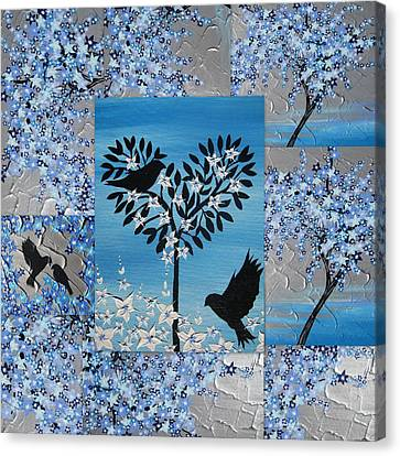 Blue Heart Tree Canvas Print by Cathy Jacobs