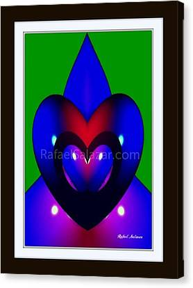 Canvas Print featuring the painting Blue Hearts by Rafael Salazar