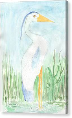 Canvas Print featuring the painting Blue Heron In The Tules by Helen Holden-Gladsky