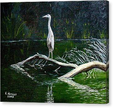 Canvas Print featuring the mixed media Blue Heron by Kenny Henson