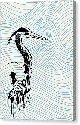 Blue Heron On Waves Canvas Print