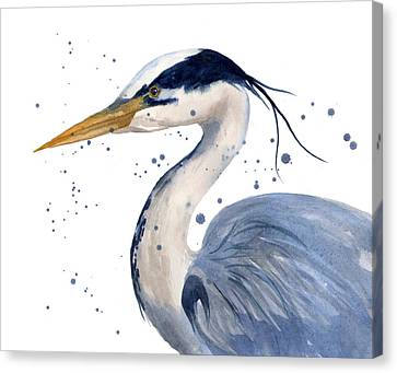 Blue Heron Painting Canvas Print by Alison Fennell