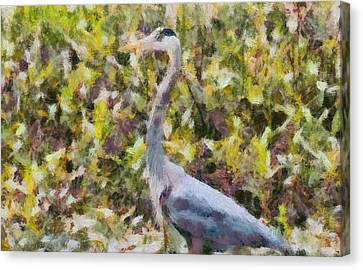 Blue Heron Painting Canvas Print by Dan Sproul