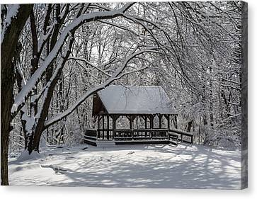 Blue Heron Park After Snowfall Canvas Print by Kenneth Cole