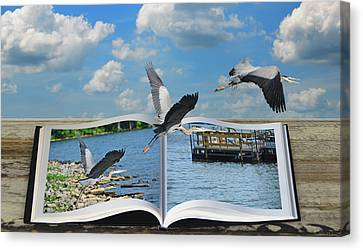 Blue Heron Storybook Canvas Print by Steven Michael