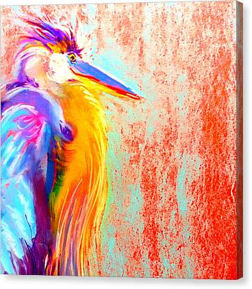 Funky Blue Heron Bird Canvas Print
