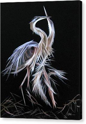 Canvas Print featuring the painting Blue Herons Mating Dance by LaVonne Hand