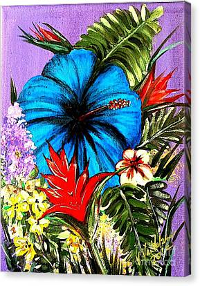 Blue Hibiscus Canvas Print by Valarie Pacheco