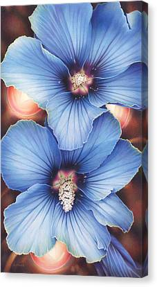 Blue Hibiscus With Fairy Lights Canvas Print by Amy S Turner