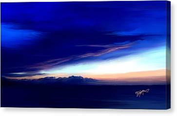 Canvas Print featuring the digital art Blue Horizon Dawn Over Sea by Anthony Fishburne