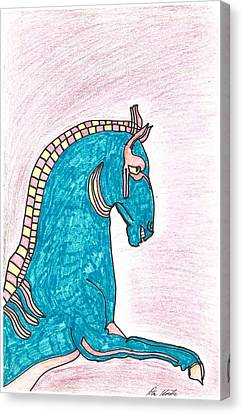 Blue Horse Of Shanghai Canvas Print