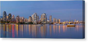 Canvas Print featuring the photograph Blue Hour At False Creek Vancouver Bc Canada by JPLDesigns