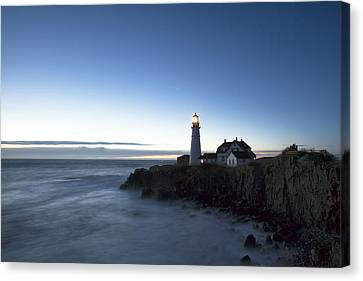 Blue Hour At Portland Head Canvas Print by Eric Gendron