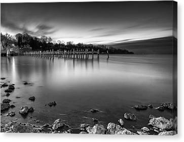 Blue Hour In Black And White Canvas Print by Edward Kreis
