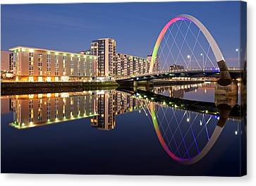 Blue Hour In Glasgow Canvas Print by Stephen Taylor