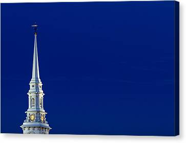 Blue Hour Steeple Canvas Print by Jeff Sinon