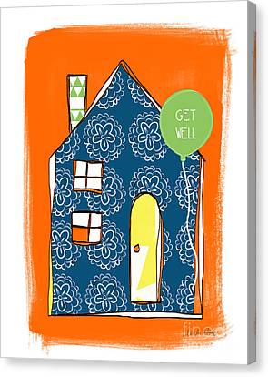 Blue House Get Well Card Canvas Print