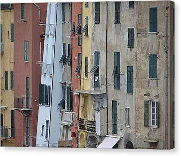 Canvas Print featuring the photograph Blue House Portovenere Italy by Sally Ross