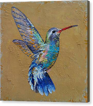 Humming Birds Canvas Print - Turquoise Hummingbird by Michael Creese