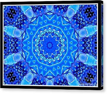 Canvas Print featuring the photograph Blue Hydrangeas Flower Kaleidoscope by Rose Santuci-Sofranko