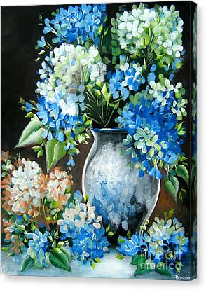Canvas Print featuring the painting Blue Hydrangeas by Patrice Torrillo
