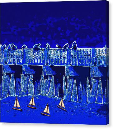 Blue II Toy Sailboats In Lake Worth Canvas Print by David Mckinney